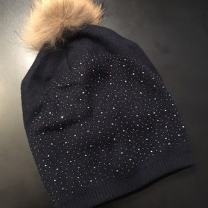 Accessories - Navy blue beanie hat with silver accents